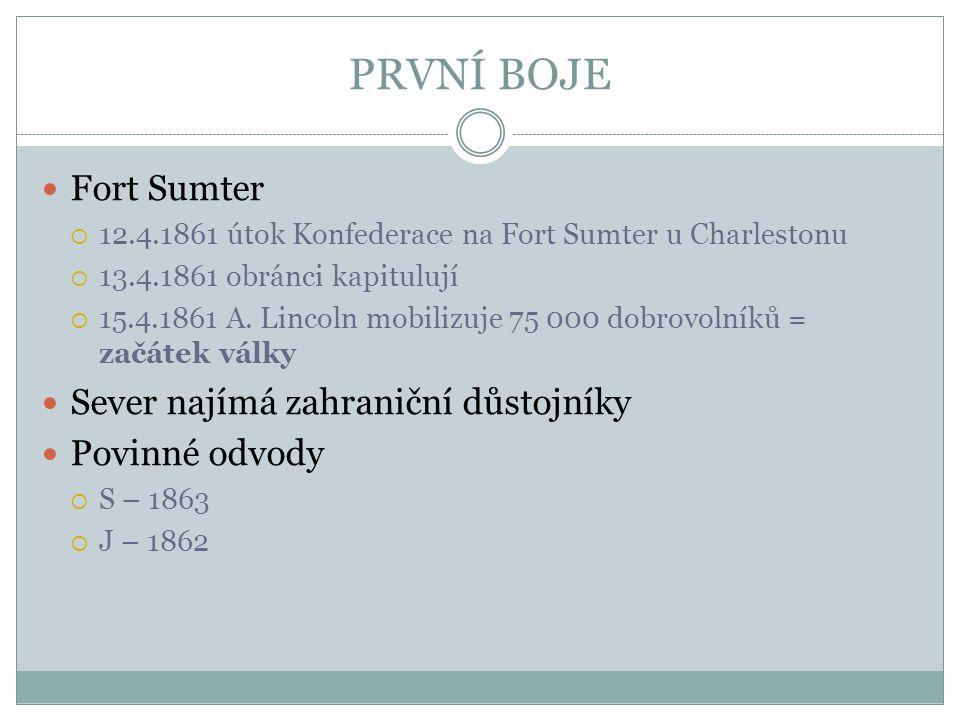 PRVNÍ BOJE Fort Sumter  12.4.1861 útok Konfederace na Fort Sumter u Charlestonu  13.4.1861 obránci kapitulují  15.4.1861 A. Lincoln mobilizuje 75 0