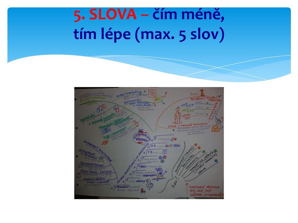5. SLOVA – čím méně, tím lépe (max. 5 slov)