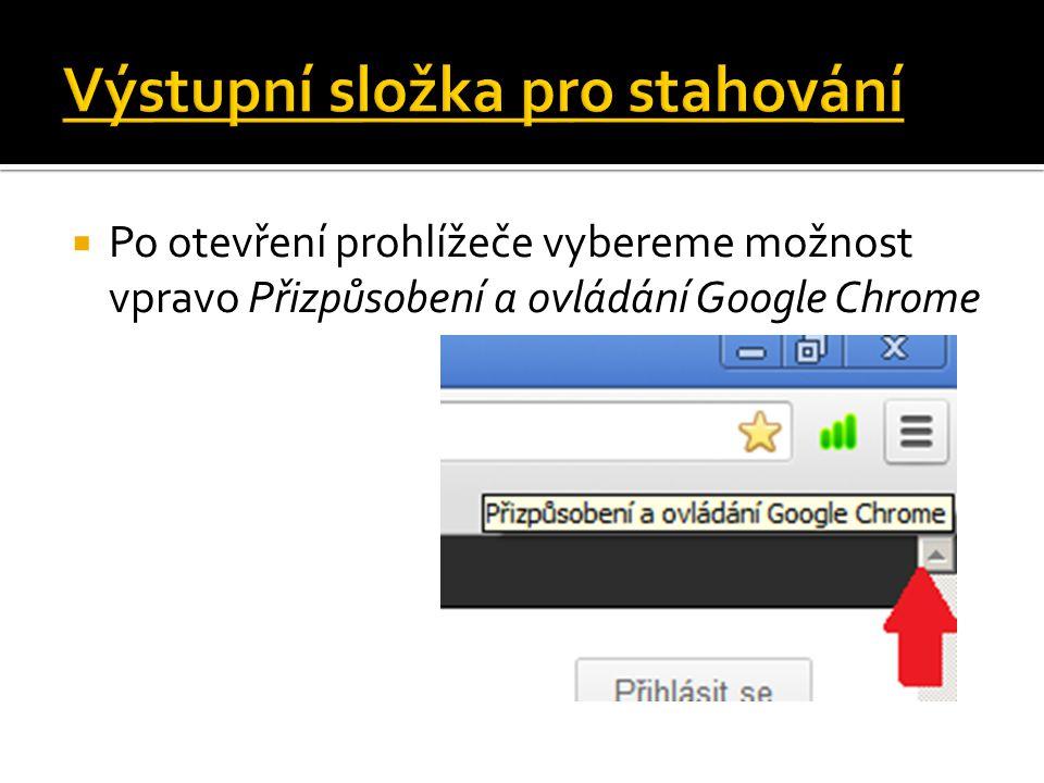  Po otevření prohlížeče vybereme možnost vpravo Přizpůsobení a ovládání Google Chrome