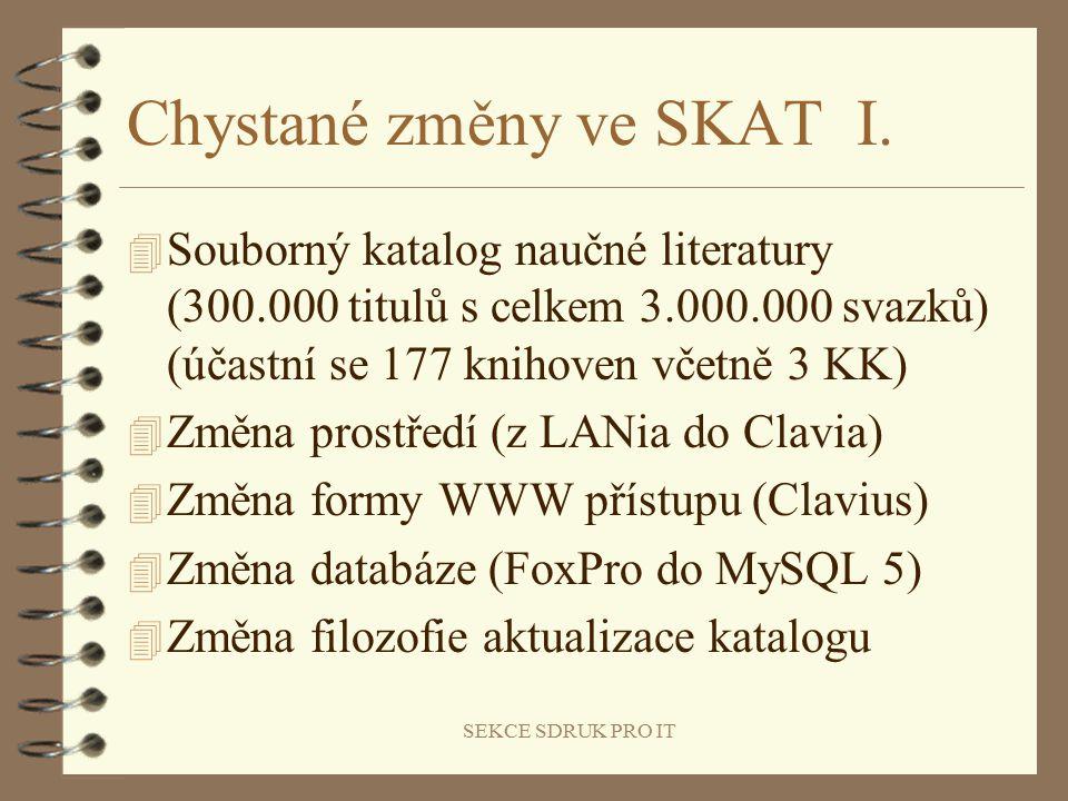 SEKCE SDRUK PRO IT Chystané změny ve SKAT I.