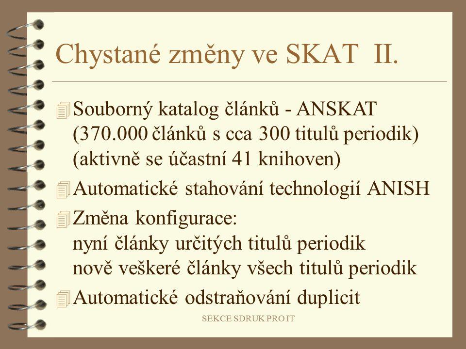 SEKCE SDRUK PRO IT Chystané změny ve SKAT II.