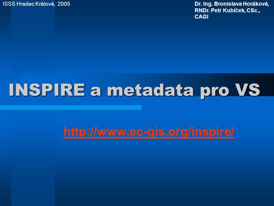 INSPIRE a metadata pro VS http://www.ec-gis.org/inspire/ ISSS Hradec Králové, 2005Dr.