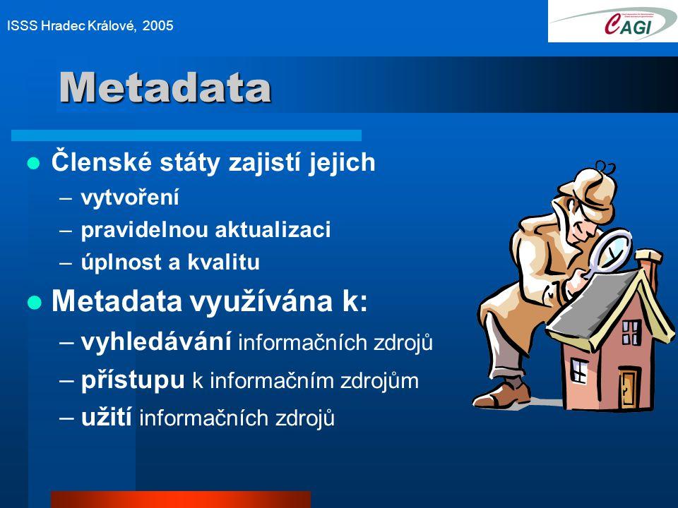 Metadata Členské státy zajistí jejich –vytvoření –pravidelnou aktualizaci –úplnost a kvalitu Metadata využívána k: –vyhledávání informačních zdrojů –přístupu k informačním zdrojům –užití informačních zdrojů ISSS Hradec Králové, 2005