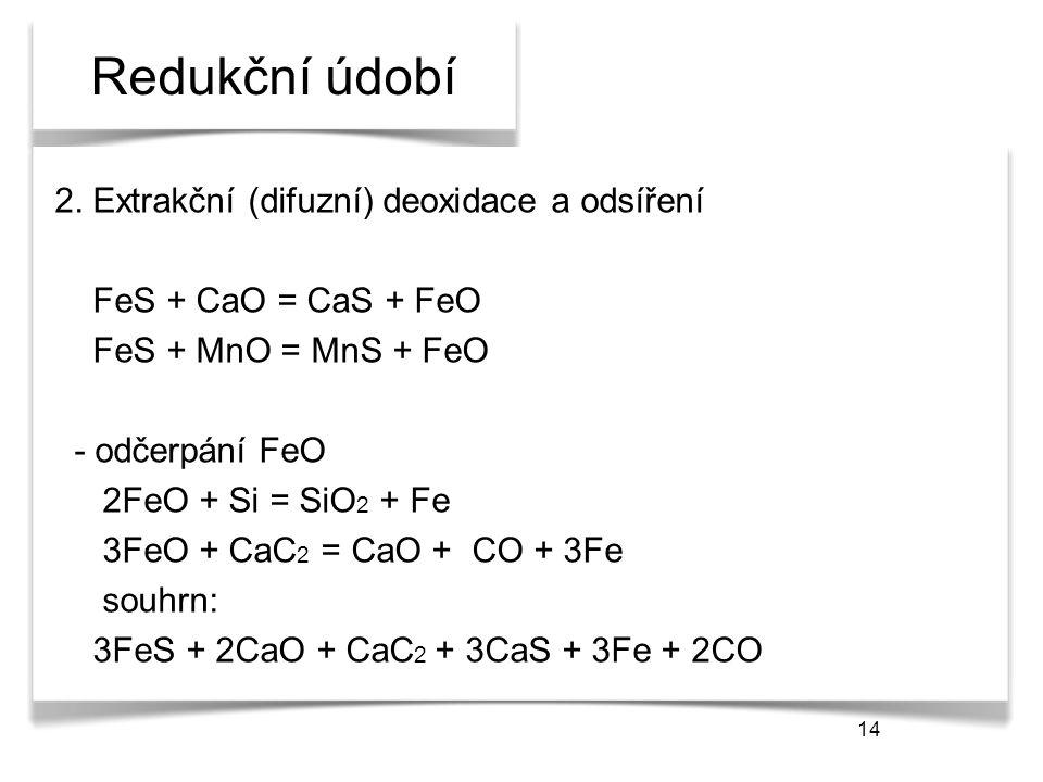 14 Redukční údobí 2. Extrakční (difuzní) deoxidace a odsíření FeS + CaO = CaS + FeO FeS + MnO = MnS + FeO - odčerpání FeO 2FeO + Si = SiO 2 + Fe 3FeO