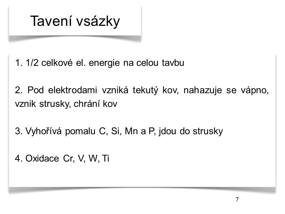 7 Tavení vsázky 1. 1/2 celkové el. energie na celou tavbu 2.