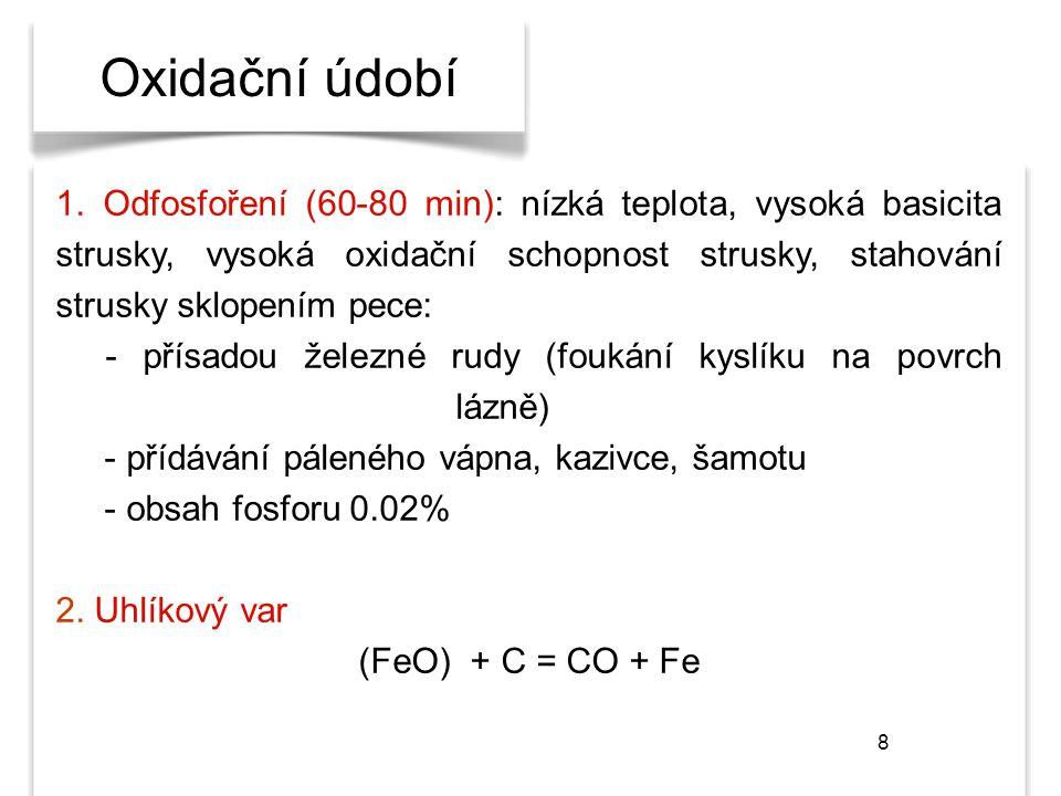 8 Oxidační údobí 1. Odfosfoření (60-80 min): nízká teplota, vysoká basicita strusky, vysoká oxidační schopnost strusky, stahování strusky sklopením pe
