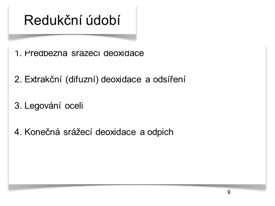 9 Redukční údobí 1. Předběžná srážecí deoxidace 2. Extrakční (difuzní) deoxidace a odsíření 3. Legování oceli 4. Konečná srážecí deoxidace a odpich