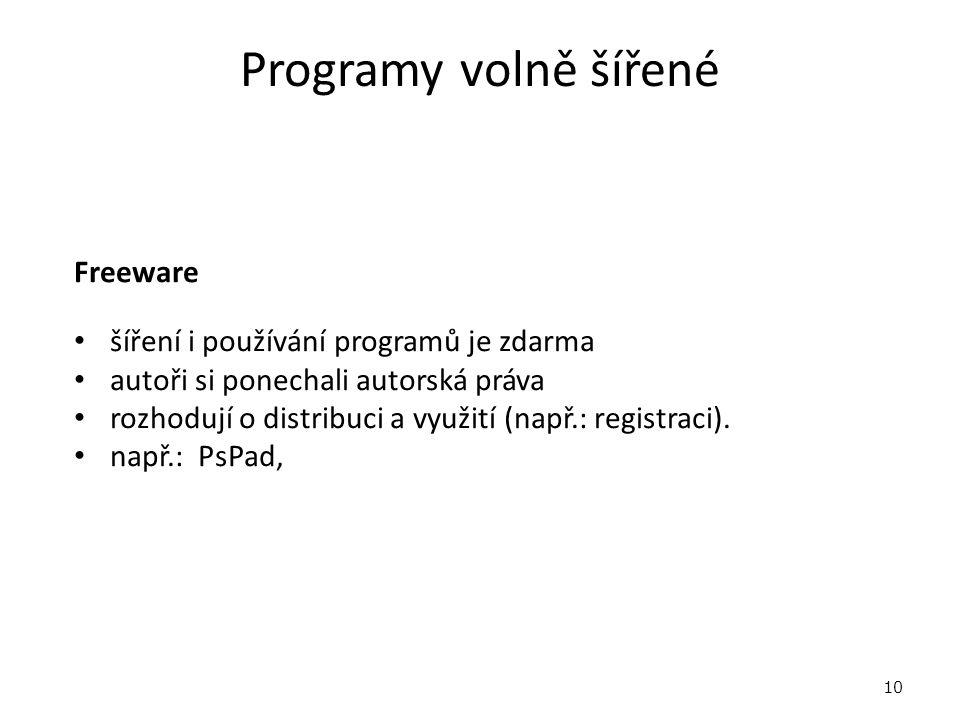 Programy volně šířené Freeware šíření i používání programů je zdarma autoři si ponechali autorská práva rozhodují o distribuci a využití (např.: registraci).