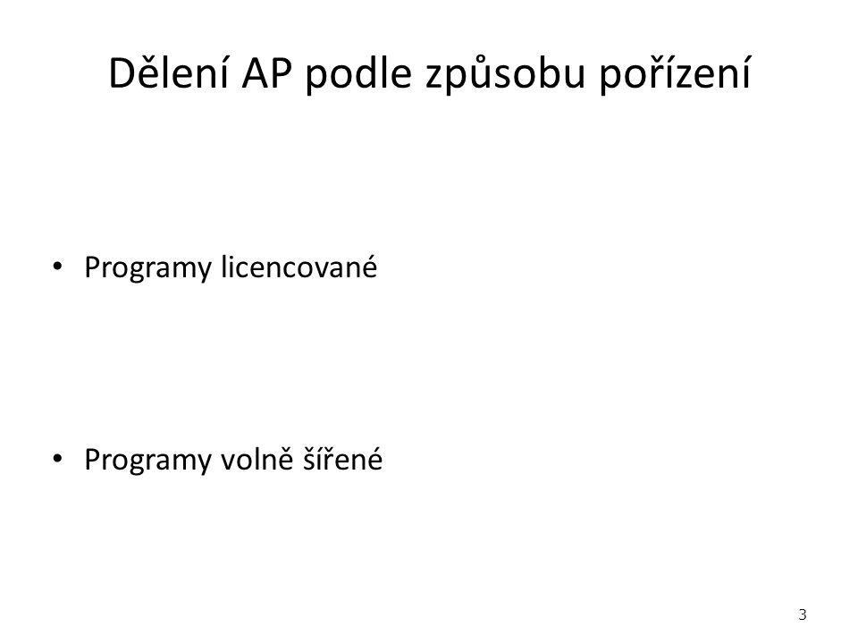 Dělení AP podle způsobu pořízení Programy licencované Programy volně šířené 3