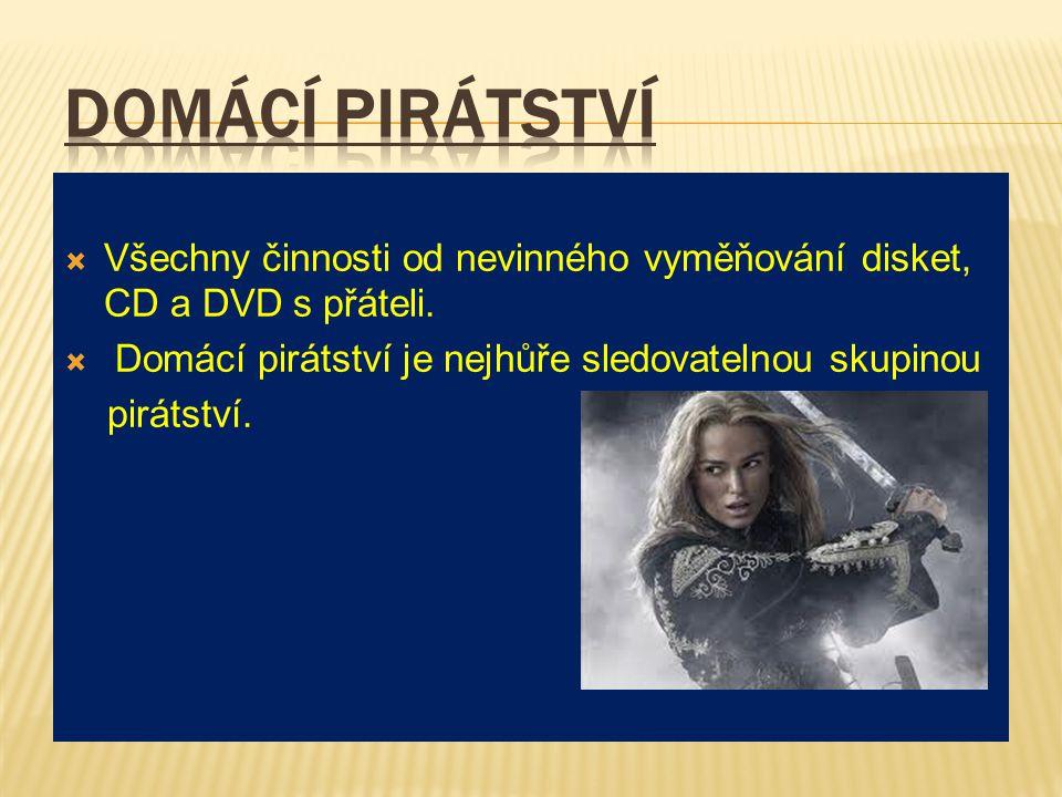  Všechny činnosti od nevinného vyměňování disket, CD a DVD s přáteli.  Domácí pirátství je nejhůře sledovatelnou skupinou pirátství.