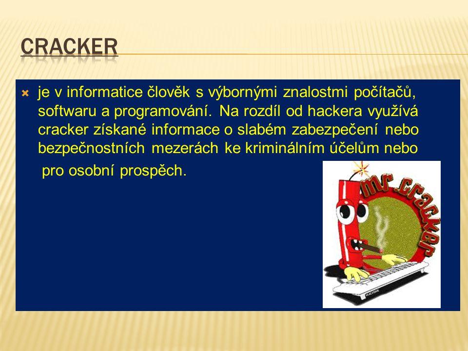  je v informatice člověk s výbornými znalostmi počítačů, softwaru a programování. Na rozdíl od hackera využívá cracker získané informace o slabém zab
