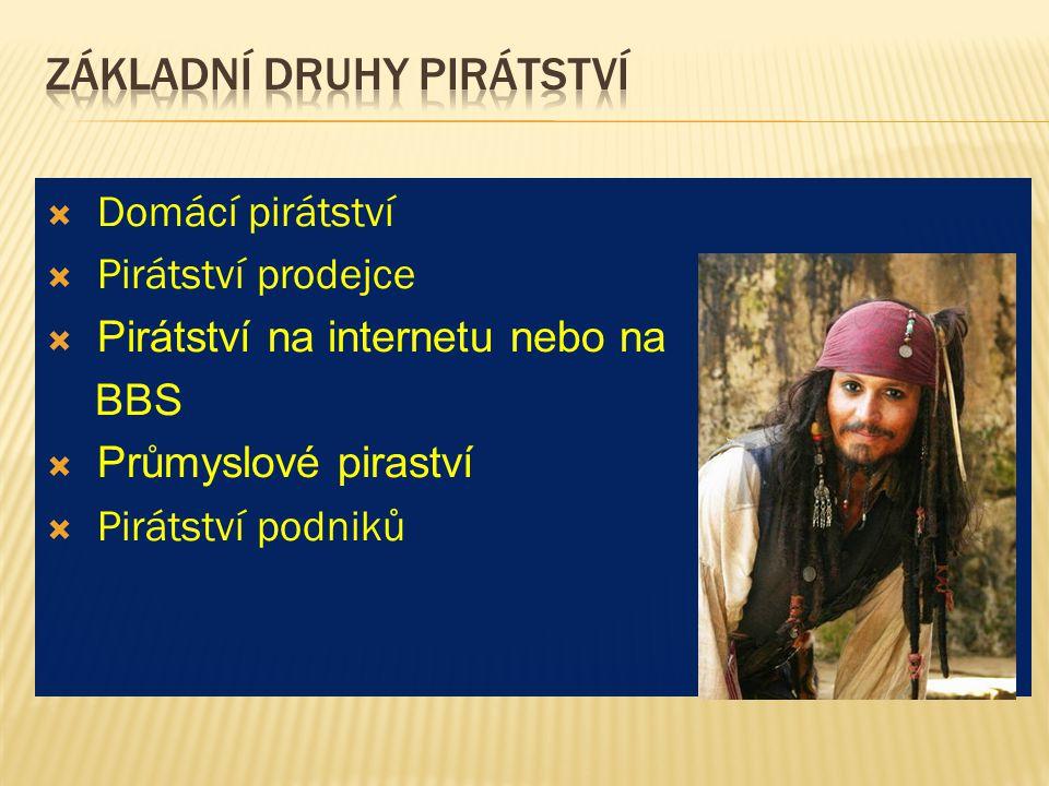  Domácí pirátství  Pirátství prodejce  Pirátství na internetu nebo na BBS  Průmyslové piraství  Pirátství podniků