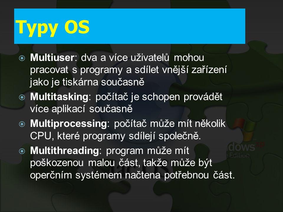 Typy OS  Multiuser: dva a více uživatelů mohou pracovat s programy a sdílet vnější zařízení jako je tiskárna současně  Multitasking: počítač je scho