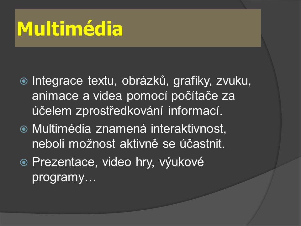 Multimédia  Integrace textu, obrázků, grafiky, zvuku, animace a videa pomocí počítače za účelem zprostředkování informací.  Multimédia znamená inter