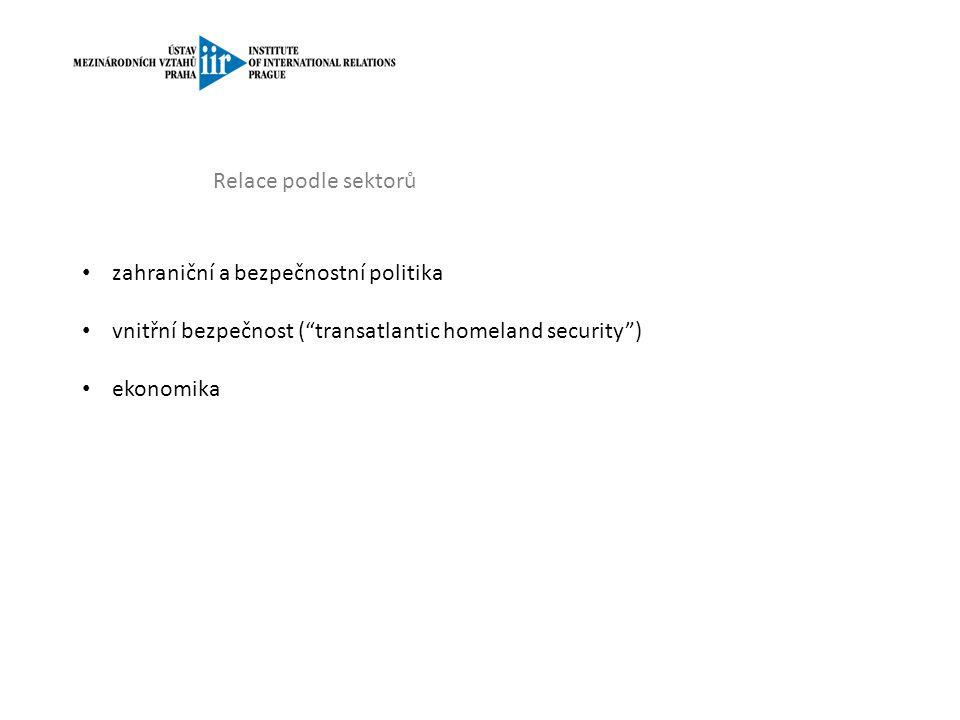Relace podle sektorů zahraniční a bezpečnostní politika vnitřní bezpečnost ( transatlantic homeland security ) ekonomika