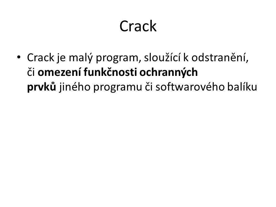 Crack Crack je malý program, sloužící k odstranění, či omezení funkčnosti ochranných prvků jiného programu či softwarového balíku