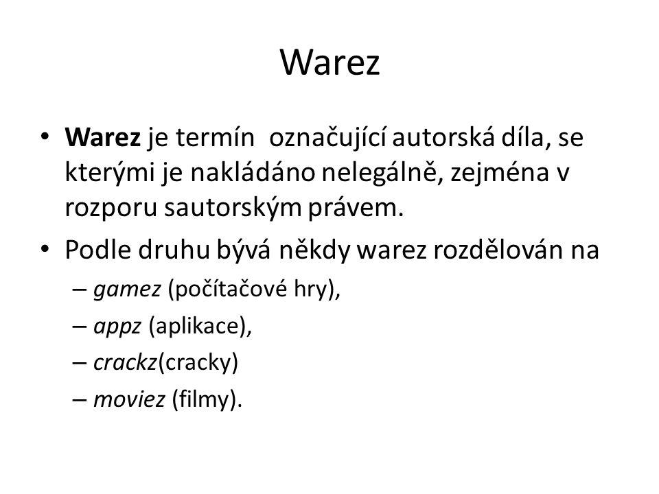 Warez Warez je termín označující autorská díla, se kterými je nakládáno nelegálně, zejména v rozporu sautorským právem.