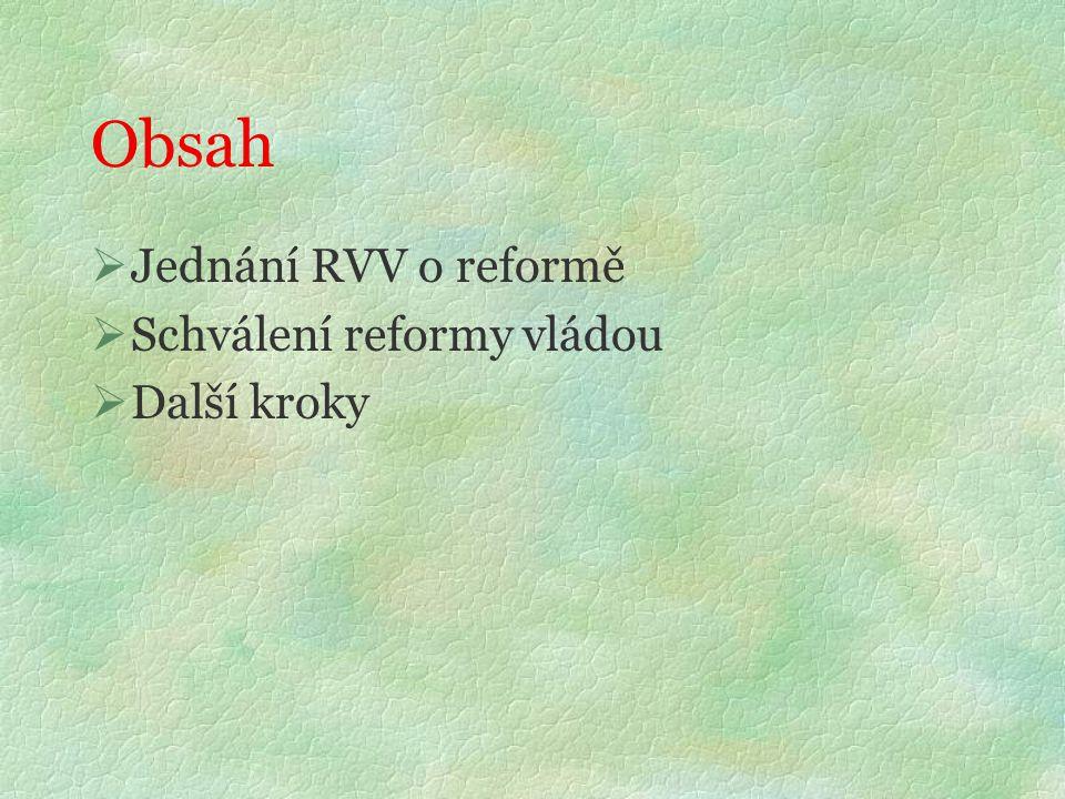 Obsah  Jednání RVV o reformě  Schválení reformy vládou  Další kroky