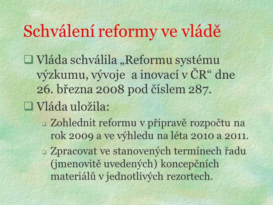 """Schválení reformy ve vládě  Vláda schválila """"Reformu systému výzkumu, vývoje a inovací v ČR dne 26."""