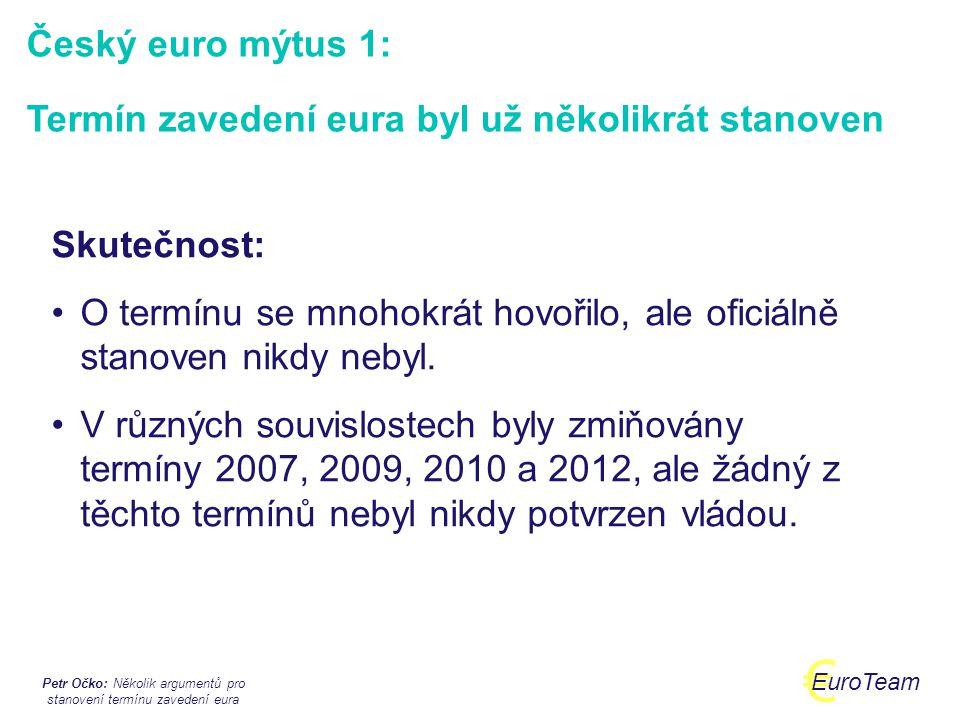 Petr Očko: Několik argumentů pro stanovení termínu zavedení eura € EuroTeam  červen 2003: v referendu schválen Akt o přistoupení ČR k EU, včetně závazku účastnit se evropské hospodářské a měnové unie  říjen 2003: schválena první eurostrategie (podmíněně zmíněny roky 2009 nebo 2010 jako data kdy je možno očekávat zavedení eura podle ekonomického vývoje)  září 2005: guvernér ČNB, premiér a ministr financí odsouhlasí, že rok 2009 je pro přijetí eura nereálný a tedy lze očekávat spíše rok 2010.
