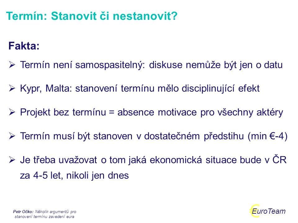 Petr Očko: Několik argumentů pro stanovení termínu zavedení eura € EuroTeam Nejdříve 2012, reálně 2013.