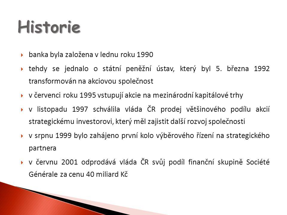  banka byla založena v lednu roku 1990  tehdy se jednalo o státní peněžní ústav, který byl 5. března 1992 transformován na akciovou společnost  v č
