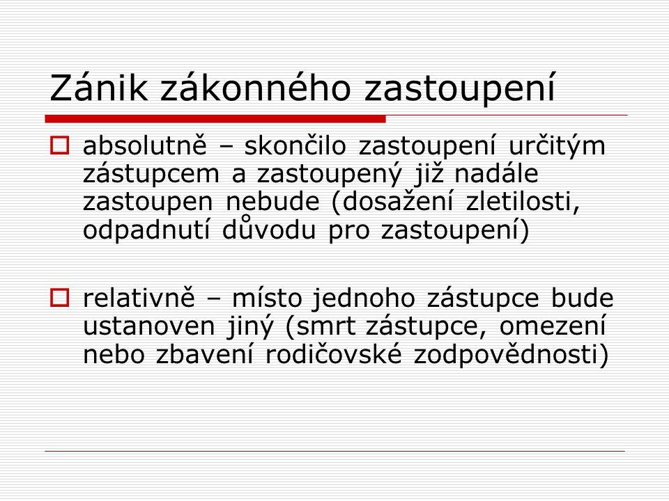 Smluvní zastoupení  Předpokladem vzniku smluvního zastoupení je dohoda mezi zastoupeným a zástupcem, z níž vyplývá právo zástupce zastoupeného zastupovat  Plná moc  Prokura