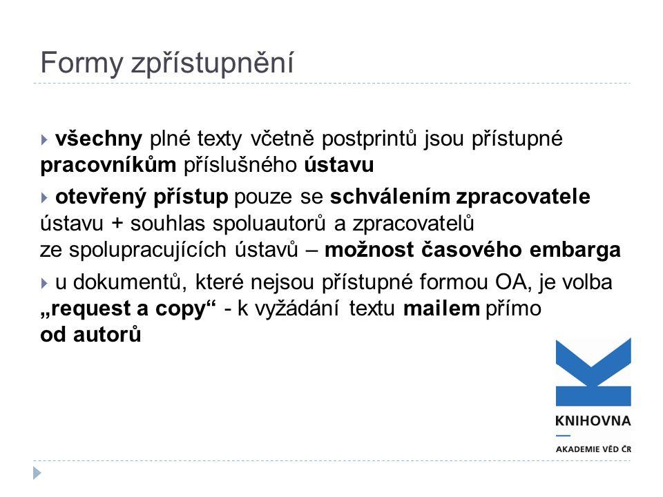 Formy zpřístupnění  všechny plné texty včetně postprintů jsou přístupné pracovníkům příslušného ústavu  otevřený přístup pouze se schválením zpracov