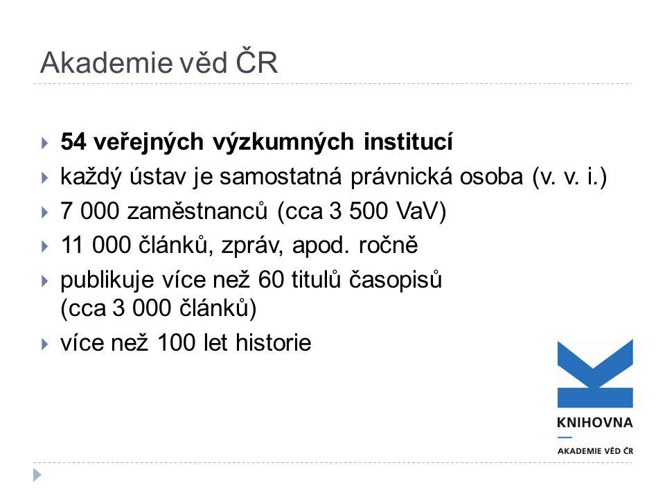 Akademie věd ČR  54 veřejných výzkumných institucí  každý ústav je samostatná právnická osoba (v. v. i.)  7 000 zaměstnanců (cca 3 500 VaV)  11 00