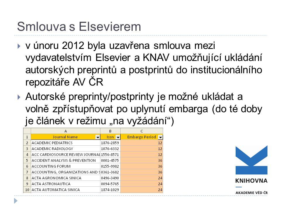 """Smlouva s Elsevierem  v únoru 2012 byla uzavřena smlouva mezi vydavatelstvím Elsevier a KNAV umožňující ukládání autorských preprintů a postprintů do institucionálního repozitáře AV ČR  Autorské preprinty/postprinty je možné ukládat a volně zpřístupňovat po uplynutí embarga (do té doby je článek v režimu """"na vyžádání )"""