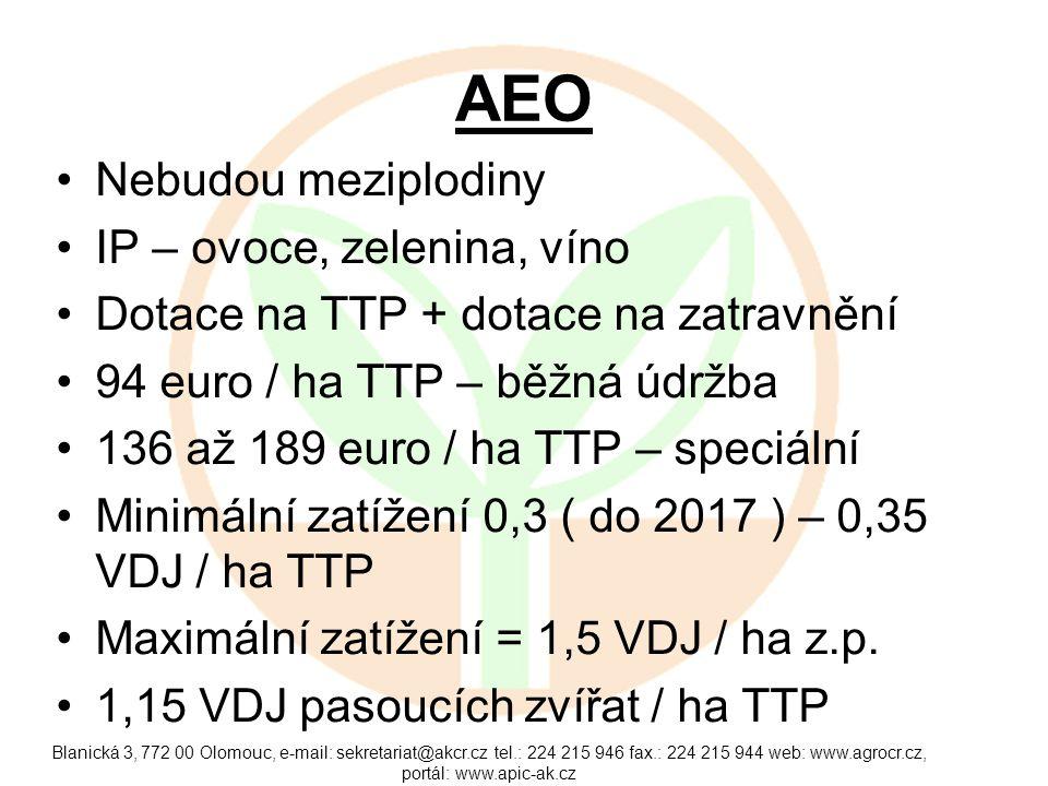 EZ 80 euro / ha TTP Minimálně 0,3 VDJ / ha z.p.