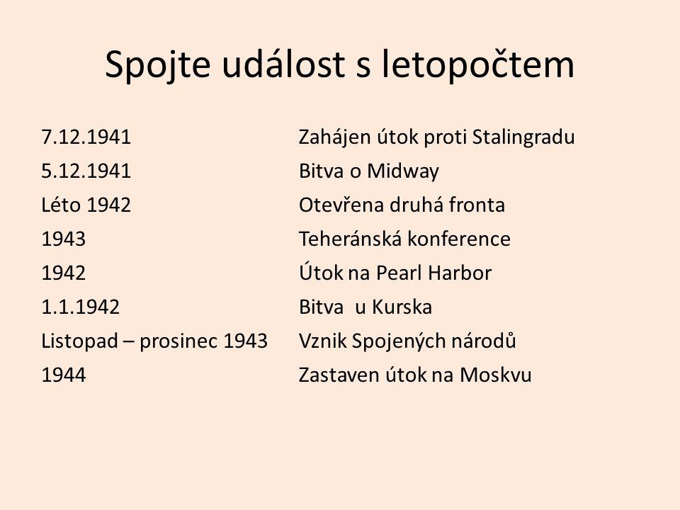Spojte událost s letopočtem 7.12.1941Zahájen útok proti Stalingradu 5.12.1941Bitva o Midway Léto 1942Otevřena druhá fronta 1943Teheránská konference 1