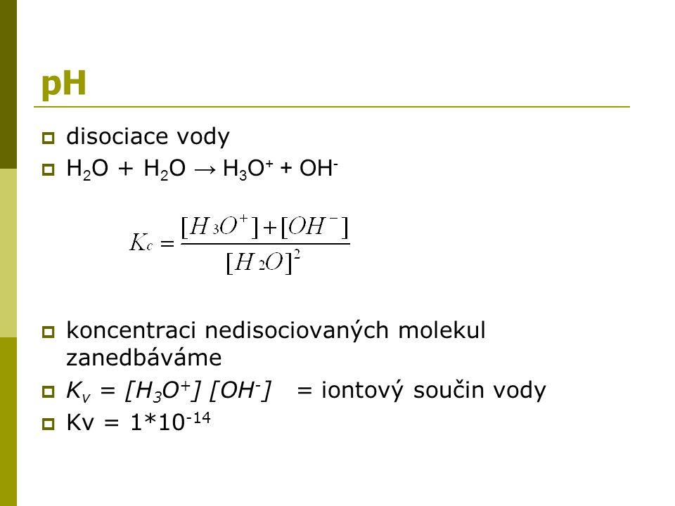 Výpočet pH  výpočet pH silných kyselin a zásad - definice pH = -log[H 3 O + ] pOH = -log c zás.