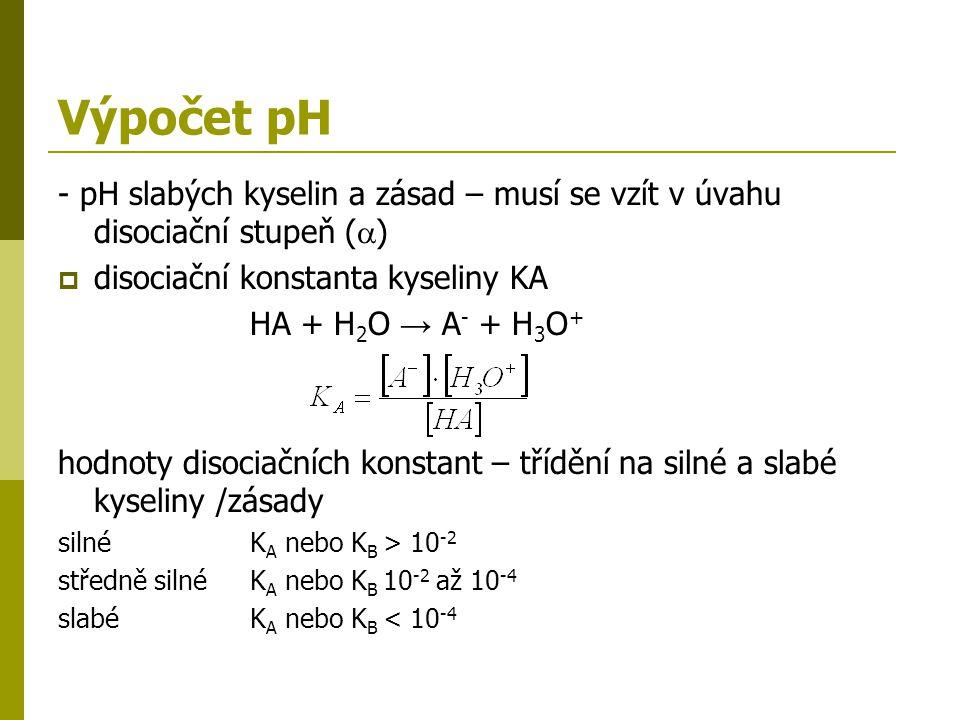 Výpočet pH - pH slabých kyselin a zásad – musí se vzít v úvahu disociační stupeň (  )  disociační konstanta kyseliny KA HA + H 2 O → A - + H 3 O + h
