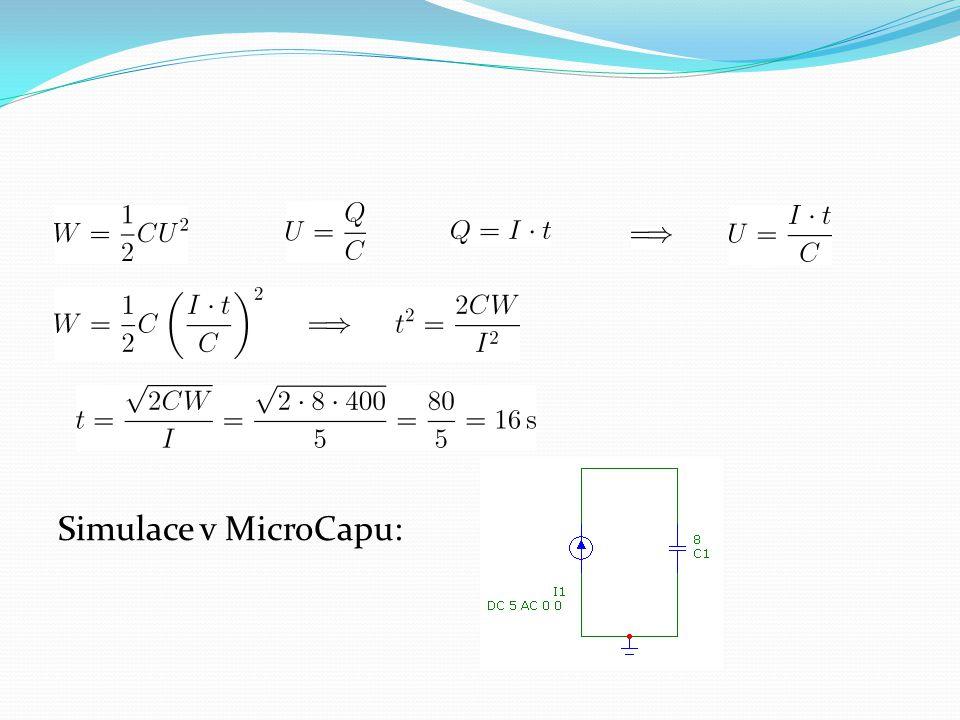 """Problémy v simulaci: Aby proběhla analýza, je potřeba vložit """"falešný rezistor s velkým odporem paralelně ke kapacitoru, aby se uzavřela stejnosměrná smyčka Nebo nastavit MicroCap tak, aby to udělal sám za nás V transientní analýze nesmí být zatržen výpočet pracovního bodu"""