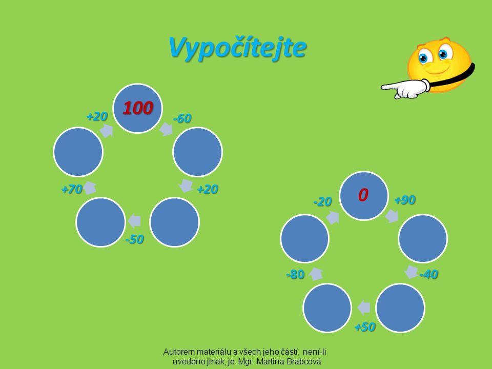Řešení 100 40 6010 80 -60 +20 -50 +70 +20 0 90 50100 20 +90 -40 +50 -80 -20 Autorem materiálu a všech jeho částí, není-li uvedeno jinak, je Mgr.