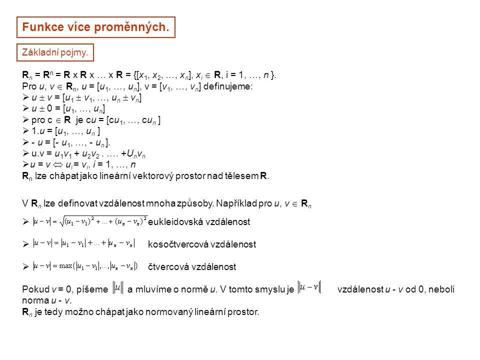 Funkce více proměnných. Základní pojmy. R n = R n = R x R x … x R = {[x 1, x 2, …, x n ], x i  R, i = 1, …, n }. Pro u, v  R n, u = [u 1, …, u n ],