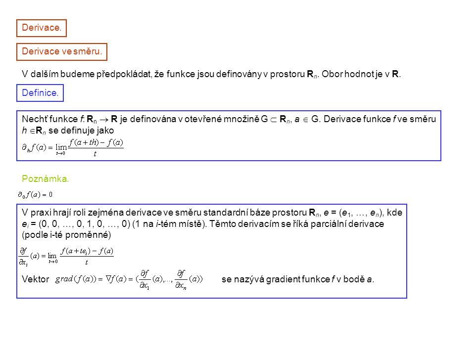 Derivace. Derivace ve směru. V dalším budeme předpokládat, že funkce jsou definovány v prostoru R n. Obor hodnot je v R. Nechť funkce f: R n  R je de