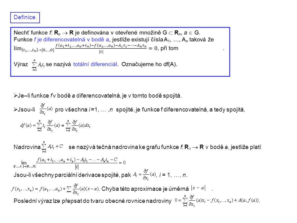 Definice.  Je–li funkce f v bodě a diferencovatelná, je v tomto bodě spojitá.  Jsou-li pro všechna i =1, …,n spojité, je funkce f diferencovatelná,