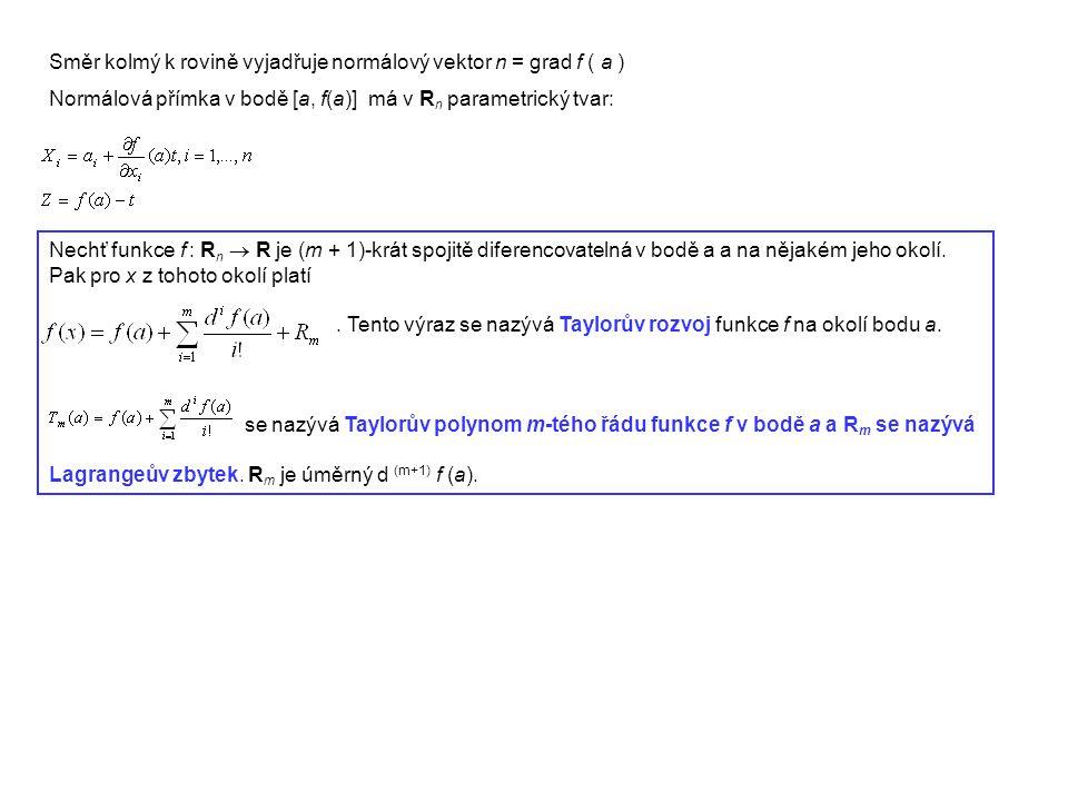 Směr kolmý k rovině vyjadřuje normálový vektor n = grad f ( a ) Normálová přímka v bodě [a, f(a)] má v R n parametrický tvar: Nechť funkce f : R n  R