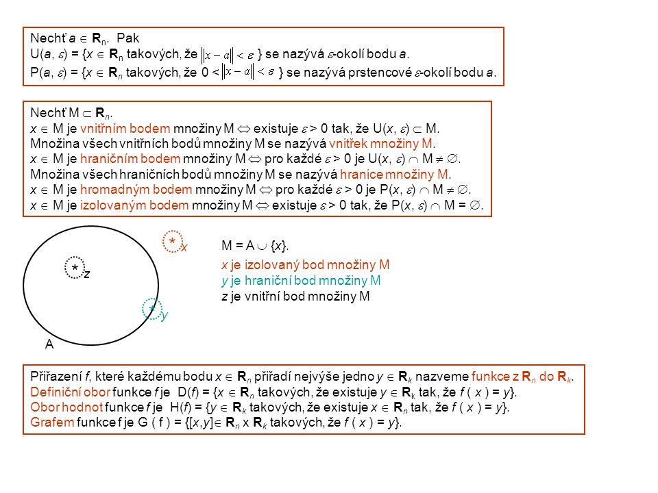 Nechť a  R n. Pak U(a,  ) = {x  R n takových, že } se nazývá  -okolí bodu a. P(a,  ) = {x  R n takových, že 0 < } se nazývá prstencové  -okolí