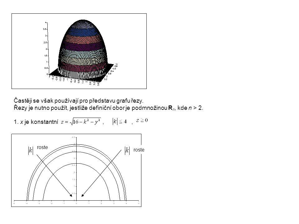 Častěji se však používají pro představu grafu řezy. Řezy je nutno použít, jestliže definiční obor je podmnožinou R n, kde n > 2. 1. x je konstantní,,