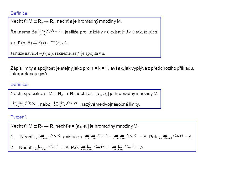 Definice. Nechť f : M  R n  R k, nechť a je hromadný množiny M. Řekneme, že, jestliže pro každé  > 0 existuje  > 0 tak, že platí: x  P (a, 