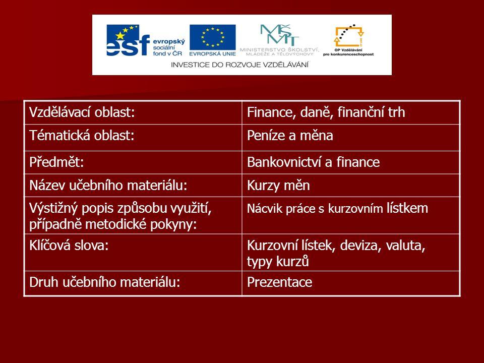 Vzdělávací oblast:Finance, daně, finanční trh Tématická oblast:Peníze a měna Předmět:Bankovnictví a finance Název učebního materiálu:Kurzy měn Výstižný popis způsobu využití, případně metodické pokyny: Nácvik práce s kurzovním lístkem Klíčová slova:Kurzovní lístek, deviza, valuta, typy kurzů Druh učebního materiálu:Prezentace