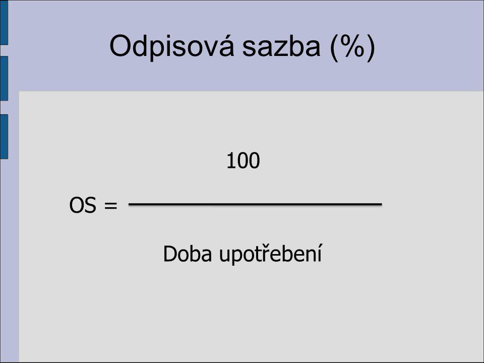 Odpisová sazba (%) 100 Doba upotřebení OS =