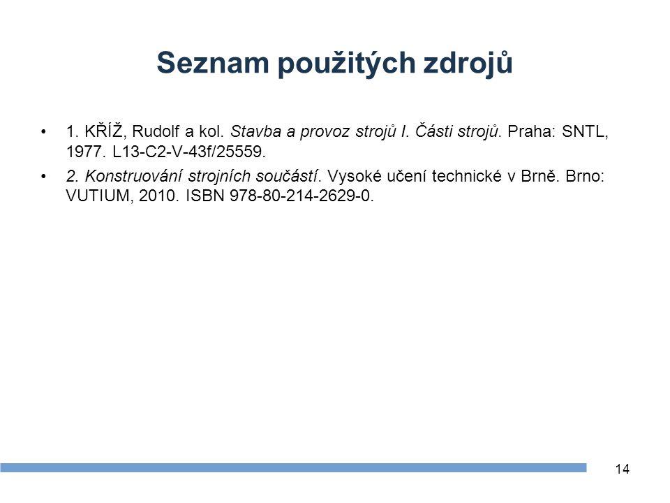 Seznam použitých zdrojů 1. KŘÍŽ, Rudolf a kol. Stavba a provoz strojů I. Části strojů. Praha: SNTL, 1977. L13-C2-V-43f/25559. 2. Konstruování strojníc