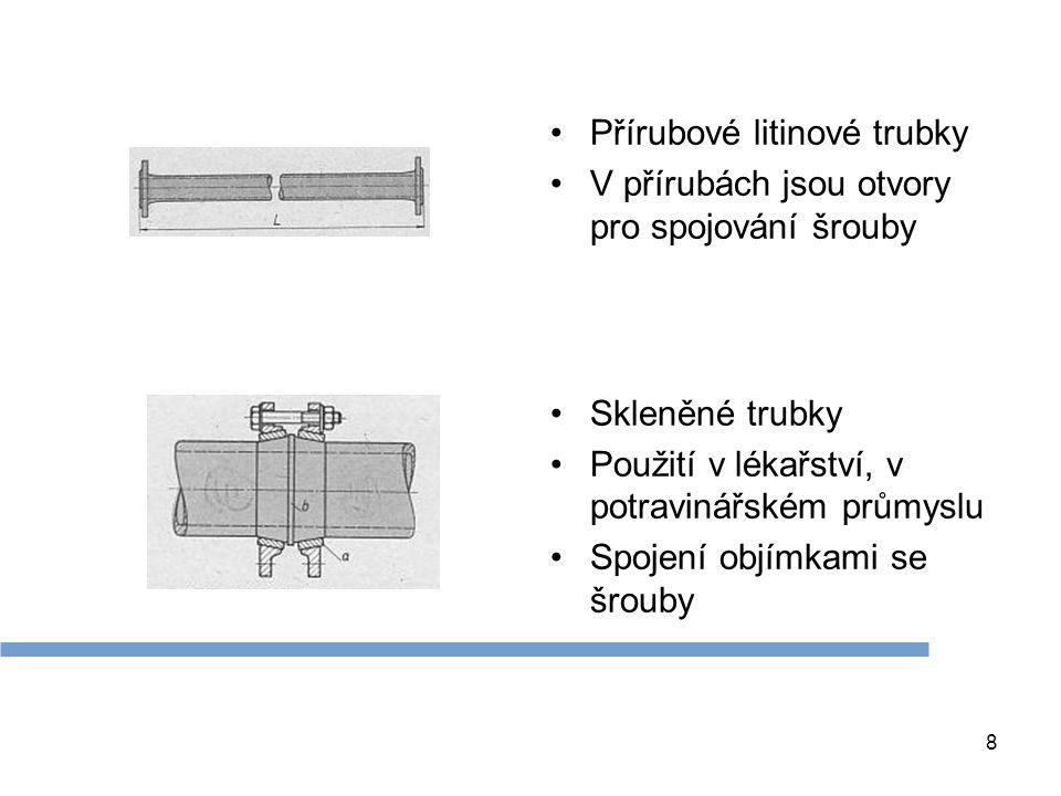 8 Přírubové litinové trubky V přírubách jsou otvory pro spojování šrouby Skleněné trubky Použití v lékařství, v potravinářském průmyslu Spojení objímk
