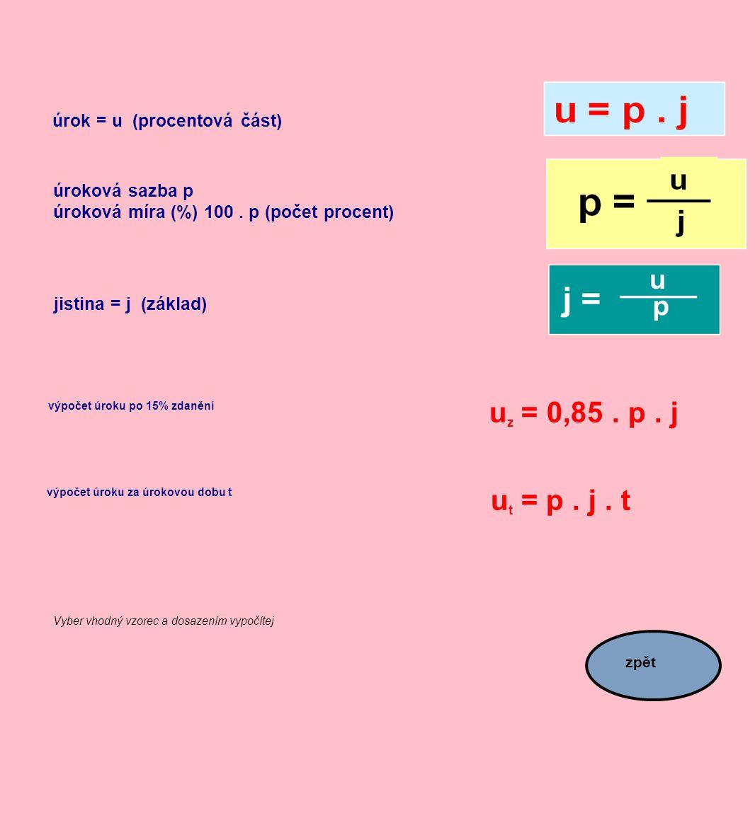 úrok = u (procentová část) úroková sazba p úroková míra (%) 100. p (počet procent) jistina = j (základ) výpočet úroku po 15% zdanění u z = 0,85. p. j