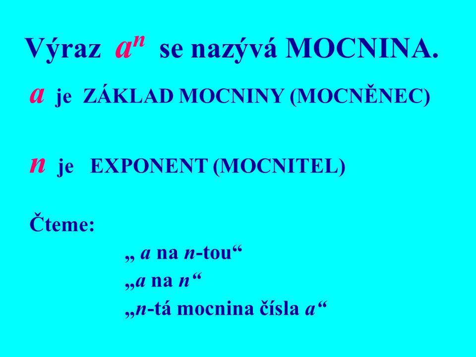 """Výraz a n se nazývá MOCNINA. a je ZÁKLAD MOCNINY (MOCNĚNEC) n je EXPONENT (MOCNITEL) Čteme: """" a na n-tou"""" """"a na n"""" """"n-tá mocnina čísla a"""""""