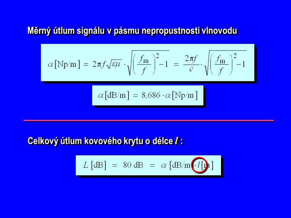 Měrný útlum signálu v pásmu nepropustnosti vlnovodu Měrný útlum signálu v pásmu nepropustnosti vlnovodu Celkový útlum kovového krytu o délce l : Celko